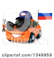Clipart Of A 3d Orange Mechanic Porsche Car Wearing Sunglasses Facing Slightly Left Holding A Wrench And A Russian Flag Royalty Free Illustration by Julos