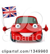 Clipart Of A 3d Red Porsche Car Giving A Thumb Up And Holding British Flag Royalty Free Illustration by Julos