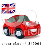 Clipart Of A 3d Red Porsche Car Facing Slightly Right And Holding British Flag Royalty Free Illustration by Julos