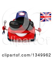Clipart Of A 3d Red Porsche Car Mechanic Wearing Sunglasses Holding A Wrench And British Flag Royalty Free Illustration by Julos
