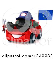 Clipart Of A 3d Red Mechanic Porsche Car Wearing Sunglasses Facing Slightly Left Holding A Wrench And European Flag Royalty Free Illustration by Julos