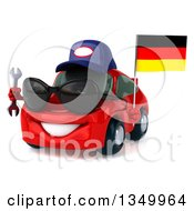 Clipart Of A 3d Red Mechanic Porsche Car Wearing Sunglasses Facing Slightly Left Holding A Wrench And A German Flag Royalty Free Illustration by Julos