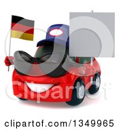 Clipart Of A 3d Red Mechanic Porsche Car Wearing Sunglasses Facing Slightly Left Holding A Blank Sign And A German Flag Royalty Free Illustration by Julos