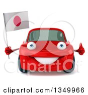 Clipart Of A 3d Red Porsche Mechanic Car Giving A Thumb Up And Holding A Japanese Flag Royalty Free Illustration by Julos