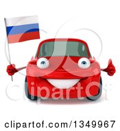 Clipart Of A 3d Red Porsche Car Giving A Thumb Up And Holding A Russian Flag Royalty Free Illustration by Julos