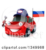 Clipart Of A 3d Red Mechanic Porsche Car Facing Slightly Left Holding A Wrench And A Russian Flag Royalty Free Illustration by Julos