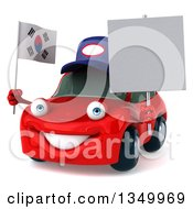 Clipart Of A 3d Happy Red Porsche Car Mechanic Facing Slightly Left Holding A Blank Sign And South Korean Flag Royalty Free Illustration by Julos