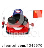 Clipart Of A 3d Red Porsche Mechanic Car Wearing Sunglasses Holding A Wrench And Chinese Flag Royalty Free Illustration