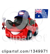 Clipart Of A 3d Red Mechanic Porche Car Wearing Sunglasses Facing Slightly Left And Holding A Wrench And An Australia Flag Royalty Free Illustration by Julos