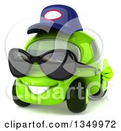 Clipart Of A 3d Lime Green Compact Car Mechanic Wearing Sunglasses Facing Slightly Left And Giving A Thumb Up Royalty Free Illustration