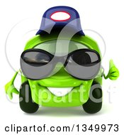 Clipart Of A 3d Lime Green Compact Car Mechanic Wearing Sunglasses And Giving A Thumb Up Royalty Free Illustration