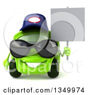Clipart Of A 3d Lime Green Compact Car Mechanic Wearing Sunglasses And Holding A Blank Sign Royalty Free Illustration