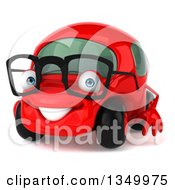 Clipart Of A 3d Happy Bespectacled Red Compact Car Facing Slightly Left Royalty Free Illustration