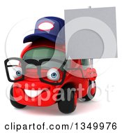 Clipart Of A 3d Happy Bespectacled Red Compact Mechanic Car Facing Slightly Left And Holding A Blank Sign Royalty Free Illustration