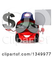 Clipart Of A 3d Happy Red Compact Mechanic Car Wearing Sunglasses Holding A Blank Sign And Dollar Currency Symbol Royalty Free Illustration by Julos