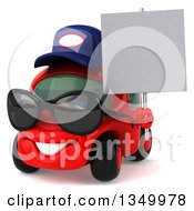 Clipart Of A 3d Happy Red Compact Mechanic Car Wearing Sunglasses Facing Slightly Left And Holding A Blank Sign Royalty Free Illustration by Julos