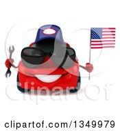 Clipart Of A 3d Red Mechanic Porsche Car Wearing Sunglasses Holding A Wrench And An American Flag Royalty Free Illustration by Julos