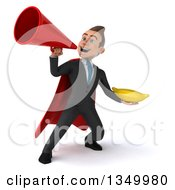 Clipart Of A 3d Young Super White Business Man Holding A Banana And Using A Megaphone Royalty Free Illustration