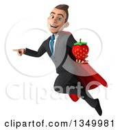 Clipart Of A 3d Young Super White Business Man Holding A Strawberry Pointing And Flying Royalty Free Illustration
