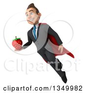 Clipart Of A 3d Young Super White Business Man Holding A Strawberry And Flying Royalty Free Illustration