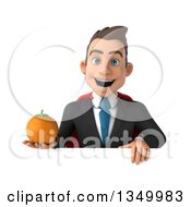 Clipart Of A 3d Young Super White Business Man Holding A Navel Orange Over A Sign Royalty Free Illustration