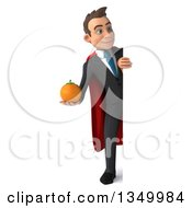 Clipart Of A 3d Full Length Young Super White Business Man Holding A Navel Orange Around A Sign Royalty Free Illustration