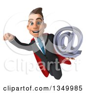 Clipart Of A 3d Young Super White Business Man Holding An Email Arobase At Symbol And Flying Royalty Free Illustration