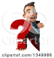 Clipart Of A 3d Young Super White Business Man Holding A Question Mark Around A Sign Royalty Free Illustration