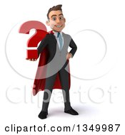 3d Young Super White Business Man Holding A Question Mark