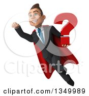 Clipart Of A 3d Young Super White Business Man Holding A Question Mark And Flying Royalty Free Illustration