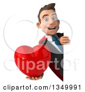 Clipart Of A 3d Young Super White Business Man Holding A Love Heart Around A Sign Royalty Free Illustration
