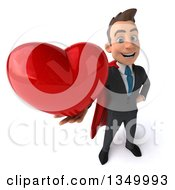 Clipart Of A 3d Young Super White Business Man Holding Up A Love Heart Royalty Free Illustration