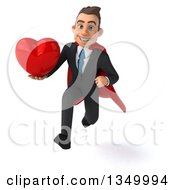Clipart Of A 3d Young Super White Business Man Holding A Love Heart And Sprinting Royalty Free Illustration
