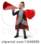 Clipart Of A 3d Young Super White Business Man Holding A Love Heart And Using A Megaphone Royalty Free Illustration