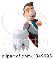 Clipart Of A 3d Young Super White Business Man Holding A Tooth Around A Sign Royalty Free Illustration