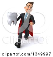 Clipart Of A 3d Young Super White Business Man Holding A Tooth And Speed Walking Royalty Free Illustration