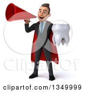 Clipart Of A 3d Young Super White Business Man Holding A Tooth And Using A Megaphone Royalty Free Illustration