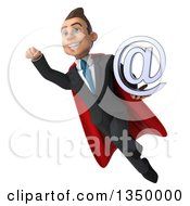 Clipart Of A 3d Young Super White Business Man Holding An Email Arobase At Symbol And Flying Royalty Free Illustration by Julos