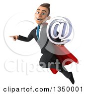 Clipart Of A 3d Young Super White Business Man Holding An Email Arobase At Symbol Pointing And Flying Royalty Free Illustration by Julos