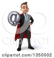 3d Young Super White Business Man Holding An Email Arobase At Symbol
