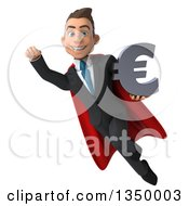 Clipart Of A 3d Young Super White Business Man Holding A Euro Currency Symbol And Flying Royalty Free Illustration