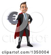 3d Young Super White Business Man Holding A Euro Currency Symbol