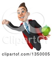 Clipart Of A 3d Young Super White Business Man Holding A Green Bell Pepper And Flying Royalty Free Illustration by Julos