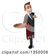 Clipart Of A 3d Full Length Young Super White Business Man Holding A Pizza Around A Sign Royalty Free Illustration by Julos