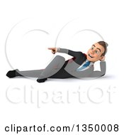 Clipart Of A 3d Young Super White Business Man Resting On His Side And Pointing Royalty Free Illustration by Julos