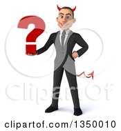 Clipart Of A 3d Young White Devil Businessman Holding A Question Mark Royalty Free Illustration