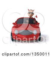 Clipart Of A 3d Young White Devil Businessman Wearing Sunglasses And Driving A Red Convertible Car Royalty Free Illustration
