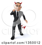 Clipart Of A 3d Young White Devil Businessman Searching With A Magnifying Glass Royalty Free Illustration