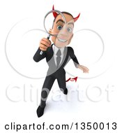 Clipart Of A 3d Young White Devil Businessman Looking Up And Searching With A Magnifying Glass Royalty Free Illustration