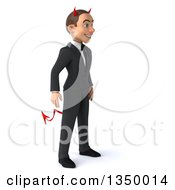 Clipart Of A 3d Young White Devil Businessman Facing Right Royalty Free Illustration